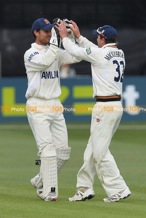 James Foster (L) of Essex congratulates Jaik Mickleburgh on running out Joe Denly - Essex CCC vs Kent CCC - LV County Championship Division One Cricket at the Ford County Ground, Chelmsford -  12/05/10 - MANDATORY CREDIT: Gavin Ellis/TGSPHOTO - Self billing applies where appropriate - Tel: 0845 094 6026