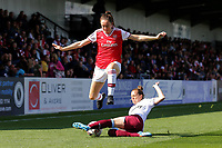 Lisa Evans of Arsenal and Katharina Baunach of West Ham during Arsenal Women vs West Ham United Women, Barclays FA Women's Super League Football at Meadow Park on 8th September 2019
