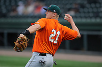 Infielder Mitchell Delfino (21) of the Augusta GreenJackets before a game against the Greenville Drive on Friday, May 10, 2013, at Fluor Field at the West End in Greenville, South Carolina. Greenville won, 10-6. (Tom Priddy/Four Seam Images)