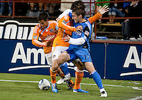 Bobby Convey battles against Houston Dynamo. The Houston Dynamo defeated the San Jose Earthquakes 1-0 at Buck Shaw Stadium in Santa Clara, California on October 16th, 2010.