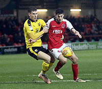 Fleetwood Town's Ashley Nadesan battles with Oxford United's Josh Ruffels<br /> <br /> Photographer Rich Linley/CameraSport<br /> <br /> The EFL Sky Bet League One - Fleetwood Town v Oxford United - Saturday 12th January 2019 - Highbury Stadium - Fleetwood<br /> <br /> World Copyright &copy; 2019 CameraSport. All rights reserved. 43 Linden Ave. Countesthorpe. Leicester. England. LE8 5PG - Tel: +44 (0) 116 277 4147 - admin@camerasport.com - www.camerasport.com