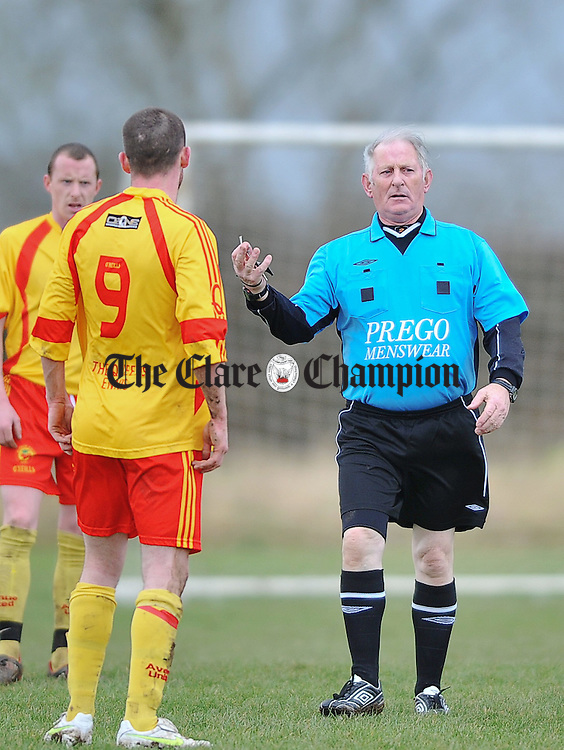 Referee Paddy Dunne during the junior cup game at Kilrush. Photograph by John Kelly