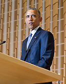 United States President Barack Obama visits Adas Israel Congregation in Washington, D.C. on Friday, May 22, 2015 to deliver remarks celebrating Jewish American Heritage Month.  The visit coincides with Solidarity Shabbat, a world-wide effort by high ranking government officials from around the world visit synagogues in their countries to highlight their commitment to combating anti-Semitism.<br /> Credit: Ron Sachs / CNP