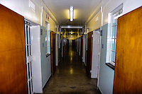 Robben Island in Table Bay off the coast of Cape Town, South Africa, most known for its apartheid prison. The corridor outside the prison cell of Nelson Mandela'.
