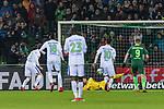 11.02.2018, Weserstadion, Bremen, GER, 1.FBL, SV Werder Bremen vs VfL Wolfsburg<br /> <br /> im Bild<br /> Paul Verhaegh (VFL Wolfsburg #03) mit Torschuss, Jiri Pavlenka (Werder Bremen #1) wehrt Foulelfmeter ab, beim Nachschuss hat Pavlenka keine Chance, 2:1, <br /> <br /> Foto &copy; nordphoto / Ewert