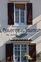 Europe/France/Aquitaine/64/Pyrénées-Atlantiques/Béran/Sauveterre-de-Béarn: Enseigne de l' Auberge du Saumon