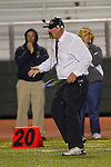 Torrance, CA 10/06/11 - Coach Adam Boyd in action during the Peninsula vs South Varsity football game.