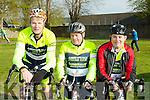 Abbeyfeale cyclists John Joe O'Connell, john Mckenna and Paud Horan at the 3 Climbs cycle in Killarney on Saturday