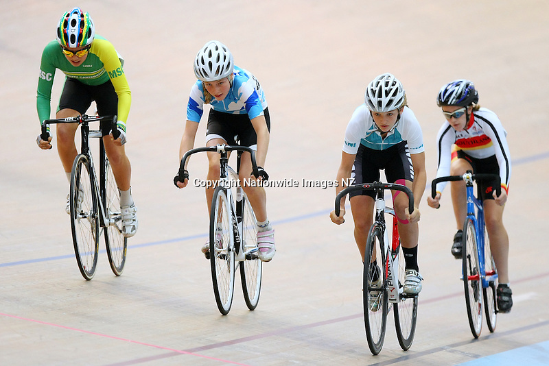 Southland's Brooke Hargest, right, West Coast North Island's Lakein Cottam, Auckland's Jenna Merrick and Mid South Canterbury's India Domigan in the W15 Derby at the Age Group Track Cycling Championships, Stadium Southland Velodrome, Invercargill, New Zealand, Thursday, February 28, 2013. Credit:NINZ / Dianne Manson.