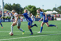Boston, MA - Saturday June 24, 2017: Jaelene Hinkle, Adriana Leon and Julie King during a regular season National Women's Soccer League (NWSL) match between the Boston Breakers and the North Carolina Courage at Jordan Field.