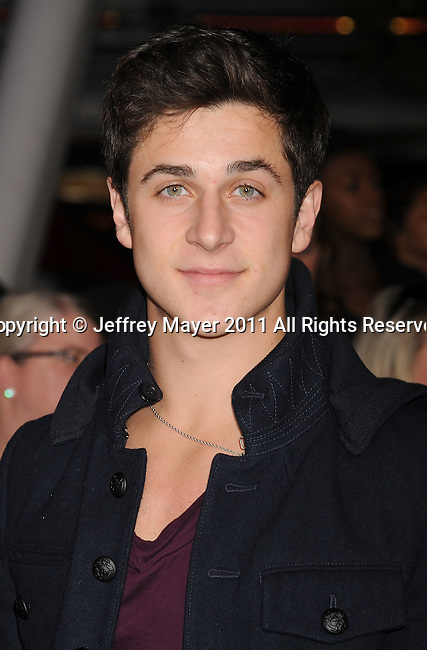 """LOS ANGELES, CA - NOVEMBER 14: David Henrie arrives at the Los Angeles premiere of """"The Twilight Saga: Breaking Dawn Part 1"""" held at Nokia Theatre L.A. Live on November 14, 2011 in Los Angeles, California."""