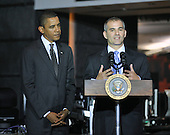 McLean, VA - October 6, 2009 -- Michael Leiter, Director, National Counterterrorism Center, right, introduces United States President Barack Obama, left, as the President prepares to make remarks during a visit to the National Counterterrorism Center (NCTC) in McLean, VA on Tuesday, October 6, 2009..Credit: Ron Sachs / Pool via CNP