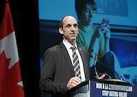 Montreal, CANADA -  File Photo - Steven Blaney, minister of Public Safety Canada speak against cyber bullying on February 3, 2014.<br /> <br /> Photo : Agence Quebec Presse - Pierre Roussel