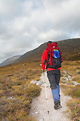 Lone walker in Glen Dee with Ben MacDui in the background, Scottish Highlands, Uk