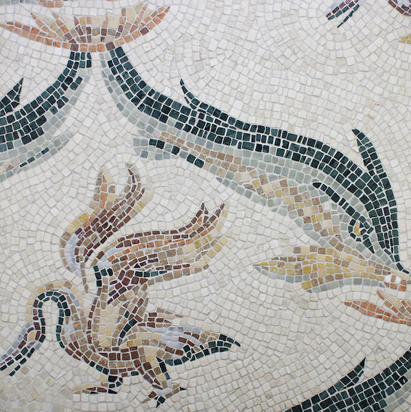 """Name: Roman Africa Dolphin and Goose<br /> Style: Roman African<br /> Product Number: CBRAM1 (19""""x19"""")<br /> Description: Roman Africa Dolphin and Goose hand chopped tumbled mosaic."""
