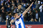 Luciano Neves of Club Deportivo Leganes celebrates after scoring a goal and Alvaro Morata of Real Madrid reacts during the match of  La Liga between Club Deportivo Leganes and Real Madrid at Butarque Stadium  in Leganes, Spain. April 05, 2017. (ALTERPHOTOS / Rodrigo Jimenez)