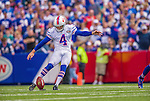 14 September 2014: Buffalo Bills kicker Jordan Gay kicks off against the Miami Dolphins at Ralph Wilson Stadium in Orchard Park, NY. The Bills defeated the Dolphins 29-10 to win their home opener and start the season with a 2-0 record. Mandatory Credit: Ed Wolfstein Photo *** RAW (NEF) Image File Available ***