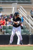 Seby Zavala (21) of the Kannapolis Intimidators at bat against the Rome Braves at Kannapolis Intimidators Stadium on June 29, 2016 in Kannapolis, North Carolina.  The Braves defeated the Intimidators 4-0.  (Brian Westerholt/Four Seam Images)