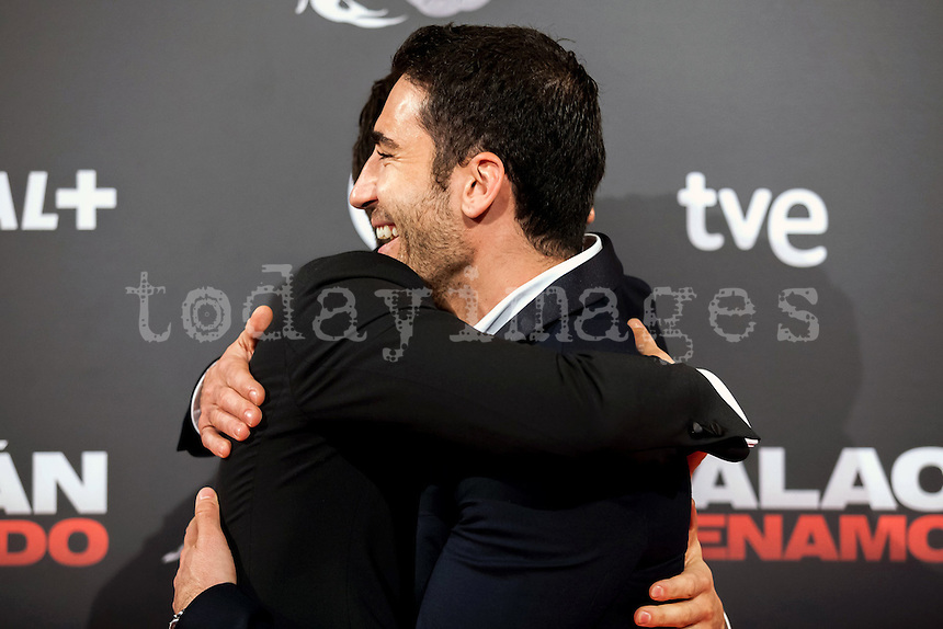 "Spanish actors Alex Gonzalez and Miguel Angel Silvestre  attend the ""Alacran Enamorado"" Premiere in Madrid at the Callao Cinema"