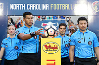 Cary, NC - Saturday April 22, 2017: Victor Rivas, Adrienne McDonald, Javier Rodriguez, Amilcar Sicaju prior to a regular season National Women's Soccer League (NWSL) match between the North Carolina Courage and the Portland Thorns FC at Sahlen's Stadium at WakeMed Soccer Park.