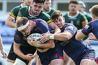 Alex Woolford of London Scottish with the ball during the Greene King IPA Championship match between London Scottish Football Club and Nottingham Rugby at Richmond Athletic Ground, Richmond, United Kingdom on 15 April 2017. Photo by David Horn.