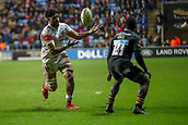 2nd December 2017, Rioch Arena, Coventry, England; Aviva Premiership rugby, Wasps versus Leicester; Valentino Mapapalangi of Leicester Tigers juggles the ball as he heads towards the try line
