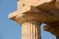 Close up of the ancient Doric Greek capitals & columns of the  Temple of Hera of Paestum built in about 460-450 BC. Paestum archaeological site, Italy.