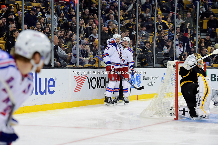 Saturday, November 5, 2016: New York Rangers center Kevin Hayes (13) celebrates his goal with left wing J.T. Miller (10) during the National Hockey League game between the New York Rangers and the Boston Bruins held at TD Garden, in Boston, Mass. The Rangers defeat the Bruins 5-2. Eric Canha/CSM