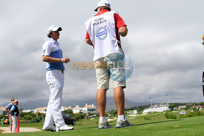 Rory McIlroy (N.IRL) with caddy J.P. Fitzgerald wait to tee off on the 17th tee during Day 1 of the Volvo World Match Play Championship in Finca Cortesin, Casares, Spain, 19th May 2011. (Photo Eoin Clarke/Golffile 2011)