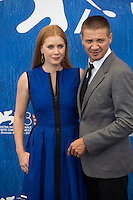 Jeremy Renner &amp; Amy Adams at the photocall for Arrival at the 2016 Venice Film Festival.<br /> September 1, 2016  Venice, Italy<br /> Picture: Kristina Afanasyeva / Featureflash