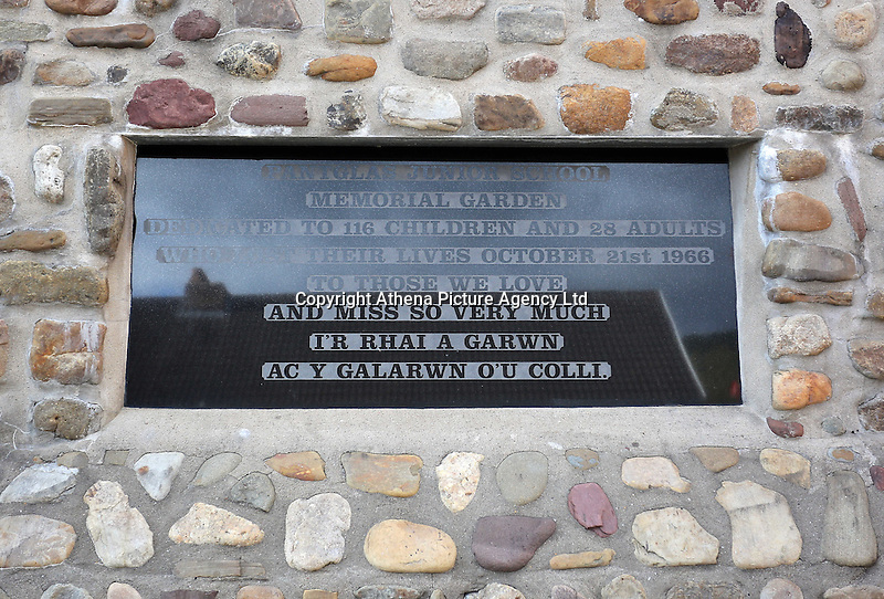 Pictured: The plaque at the entrance to the Memorial Garden Friday 21 October 2016<br />