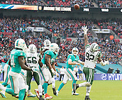 04.10.2015. Wembley Stadium, London, England. NFL International Series. Miami Dolphins versus New York Jets. Miami Dolphins Quarterback Ryan Tannehill throws the ball down field to Miami Dolphins Wide Receiver Jarvis Landry.