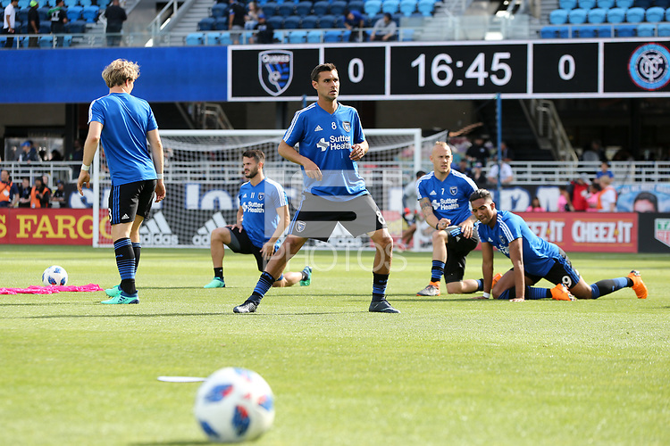 San Jose, CA - Saturday March 31, 2018: Chris Wondolowski prior to a Major League Soccer (MLS) match between the San Jose Earthquakes and New York City FC at Avaya Stadium.