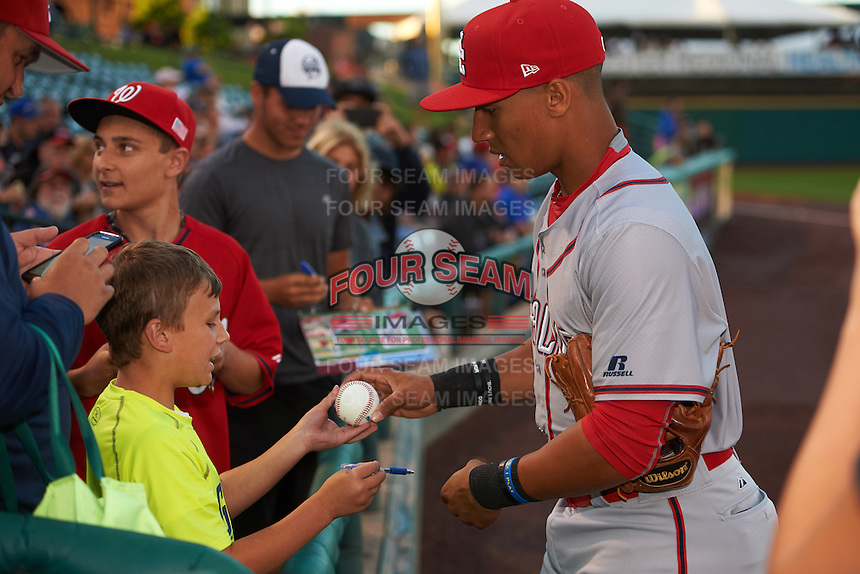 Syracuse Chiefs third baseman Chris Bostick (1) signs autographs before a game against the Rochester Red Wings on July 1, 2016 at Frontier Field in Rochester, New York.  Rochester defeated Syracuse 5-3.  (Mike Janes/Four Seam Images)