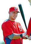 24 February 2012: Washington Nationals' catcher Wilson Ramos awaits his turn in the batting cage at the Carl Barger Baseball Complex in Viera, Florida. Mandatory Credit: Ed Wolfstein Photo