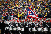 The Ohio State Marching Band performs from the sideline during the NCAA football game at Michigan Stadium in Ann Arbor on Nov. 28, 2015. Ohio State won 42-13. (Adam Cairns / The Columbus Dispatch)