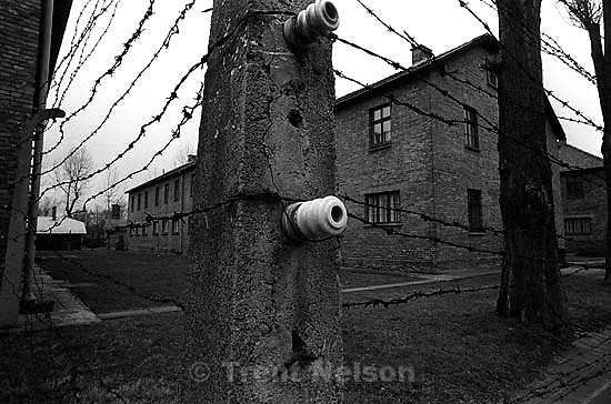 Electric fence at the Auschwitz Concentration Camp.<br />
