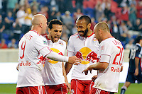 Dwayne De Rosario (11) of the New York Red Bulls celebrates scoring a penalty kick during a Major League Soccer (MLS) match against CD Chivas USA at Red Bull Arena in Harrison, NJ, on May 15, 2011.
