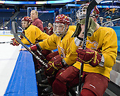 Derek Graham (FSU - 22), Kyle Bonis (FSU - 28), TJ Schlueter (FSU - 12) - The Ferris State University Bulldogs practiced on Wednesday, April 4, 2012, during the 2012 Frozen Four at the Tampa Bay Times Forum in Tampa, Florida.