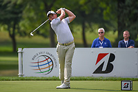 Paul Dunne (IRL) watches his tee shot on 3 during 2nd round of the World Golf Championships - Bridgestone Invitational, at the Firestone Country Club, Akron, Ohio. 8/3/2018.<br />