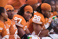 30 September 2006: Texas defender Michael Griffin (#27) and his teammates on the bench check the scoreboard during the Longhorns 56-3 victory over the Sam Houston State Bearkats at Darrell K Royal Memorial Stadium in Austin, TX.