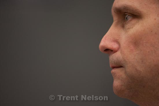 Trent Nelson  |  The Salt Lake Tribune.Draper - Mark Peterson talks about his experiences as a veteran of the Marine Corps and a prison inmate at the Utah State Prison Tuesday, March 30, 2010.