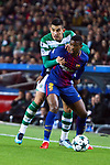 UEFA Champions League 2017/2018 - Matchday 6.<br /> FC Barcelona vs Sporting Clube de Portugal: 2-0.<br /> Nelson Semedo vs Rodrigo Battaglia.