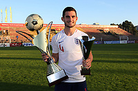 Lewis Cook proudly holds the Trophy together with his second best player of the Tournament award during Mexico Under-21 vs England Under-21, Tournoi Maurice Revello Final Football at Stade Francis Turcan on 9th June 2018