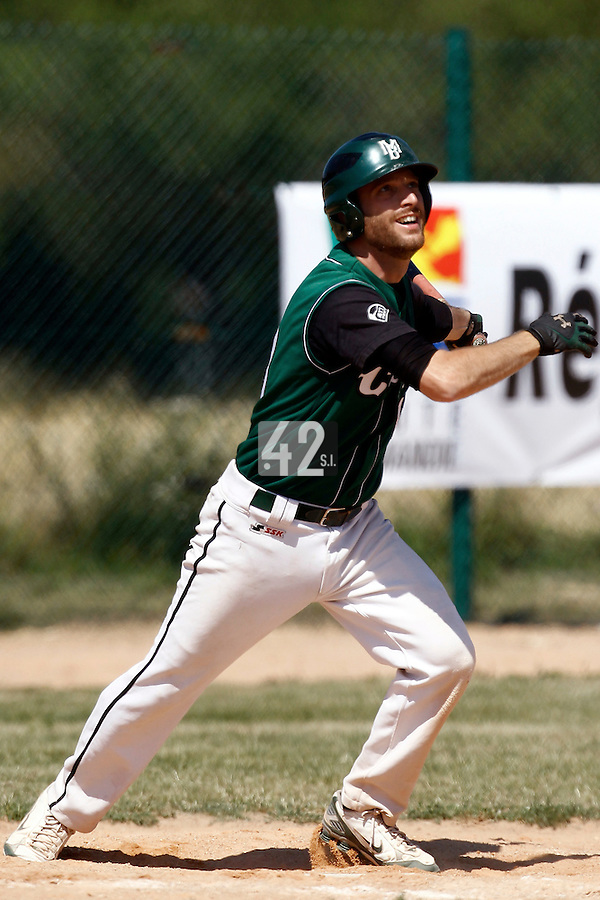 15 July 2011: Alex Couton of Montigny is seen at bat during the 2011 Challenge de France match won 10-7 by the Montpellier Barracudas over Montigny Cougars, in Les Andelys, near Rouen, France.