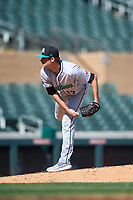 Salt River Rafters relief pitcher Ashton Goudeau (17), of the Colorado Rockies organization, during the Arizona Fall League Championship Game against the Surprise Saguaros on October 26, 2019 at Salt River Fields at Talking Stick in Scottsdale, Arizona. The Rafters defeated the Saguaros 5-1. (Zachary Lucy/Four Seam Images)