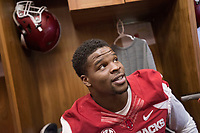 Hawgs Illustrated /BEN GOFF @NWABENGOFF<br /> Dre Greenlaw, junior linebacker from Fayetteville, talks to the press in the locker room Saturday, Aug. 5, 2017, during Arkansas football media day at the Fred W. Smith Football Center in Fayetteville.