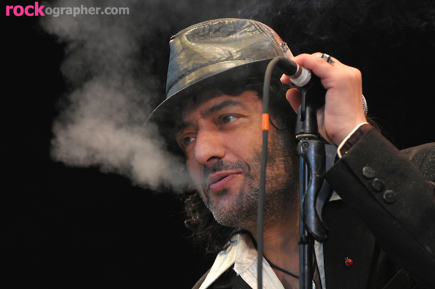 Algerian RAI-rock star Rachid Taha performs at Summer Stage Concert Series in Central Park, NYC