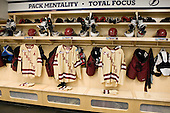Barry Almeida (BC - 9), Bill Arnold (BC - 24), Steven Whitney (BC - 21), Brooks Dyroff (BC - 14) - The Boston College Eagles were based in the Tampa Bay Lightning dressing room for the tournament after earning the number 1 seed. The Boston College Eagles defeated the Ferris State University Bulldogs 4-1 (EN) in the 2012 Frozen Four final to win the national championship on Saturday, April 7, 2012, at the Tampa Bay Times Forum in Tampa, Florida.