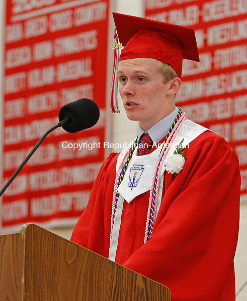 Southbury, CT-17 June 061714MK04 Class of 2014's valedictorian Thomas DePalma addresses his classmates during Pomperaug Regional High School's commencement exercises Tuesday evening in Southbury. Michael Kabelka / Republican-American